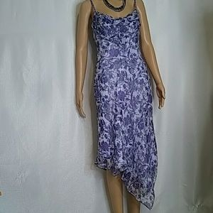 Laundry lavender floral silk asymmetrical dress